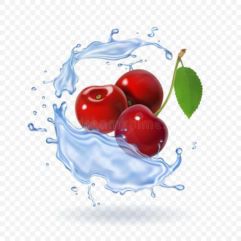 Czereśniowej realistycznej owocowej wektorowej ikony Świeży jagodowy sok ilustracja wektor