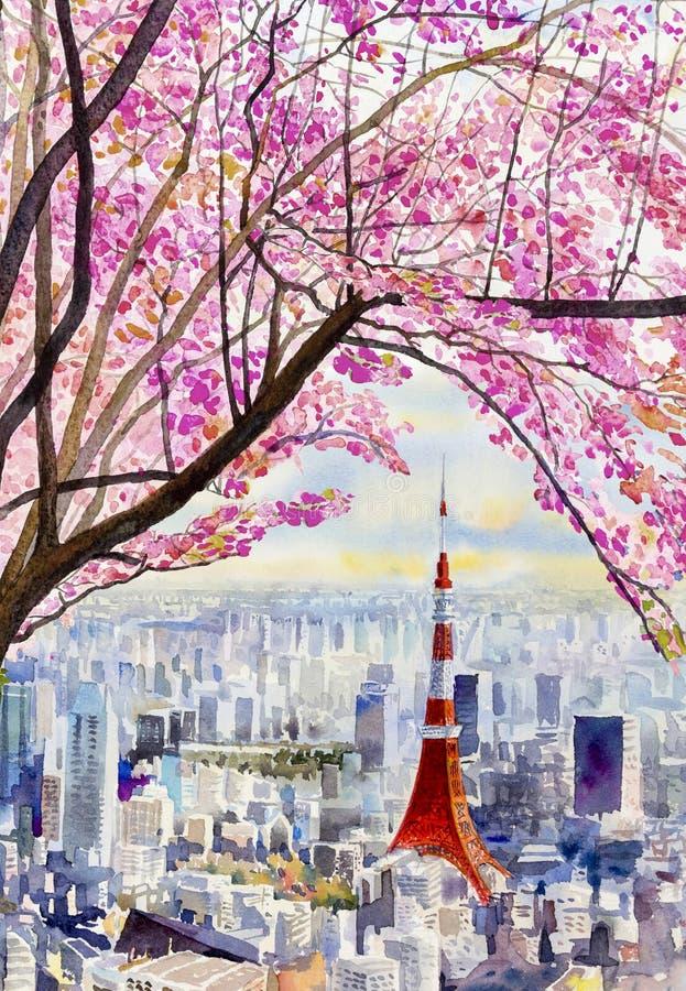 Czereśniowi okwitnięcia i Tokio Basztowy punkt zwrotny Japonia ilustracja wektor