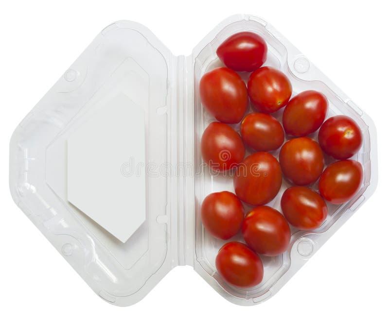 Czereśniowi pomidory na gałąź w detaliczny pakować obrazy royalty free