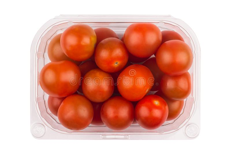 Czereśniowi pomidory w plastikowy pakować obrazy stock