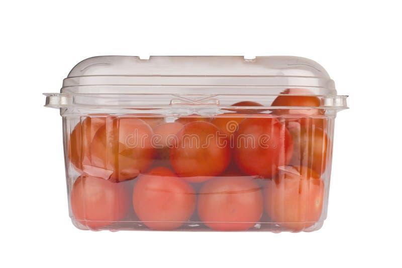 Czereśniowi pomidory w plastikowy pakować zdjęcie stock
