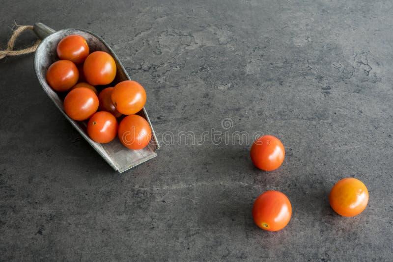 Czereśniowi pomidory w rocznika metalu łyżce przeciw popielatemu tłu, obraz stock