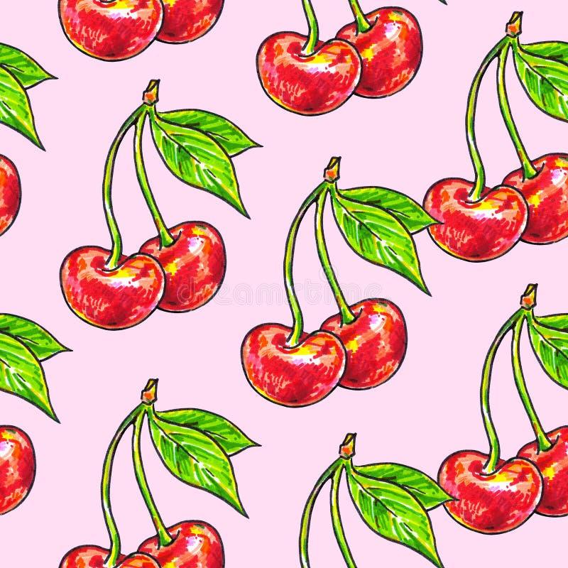 Czereśniowy cukierki na różowym tle Dla projekta bezszwowy wzór Animacj ilustracje handwork ilustracji