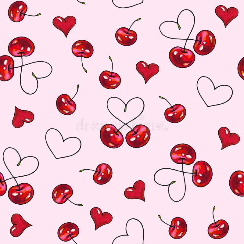 Czereśniowy cukierki na różowym tle Dla projekta bezszwowy wzór Animacj ilustracje handwork royalty ilustracja