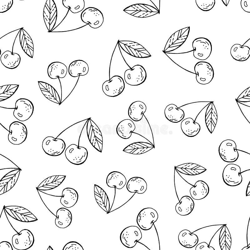 Czereśniowy jagodowy kontur ilustracji