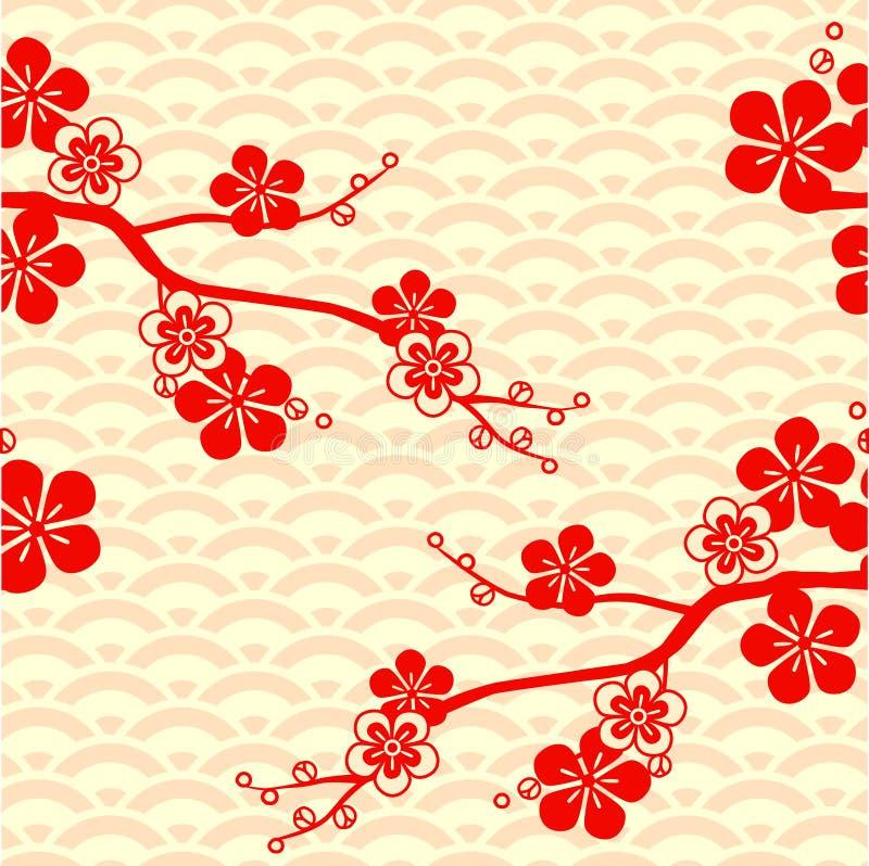 Czereśniowy okwitnięcie wzór japońskiego Ornament z orientalnymi motywami wektor ilustracja wektor