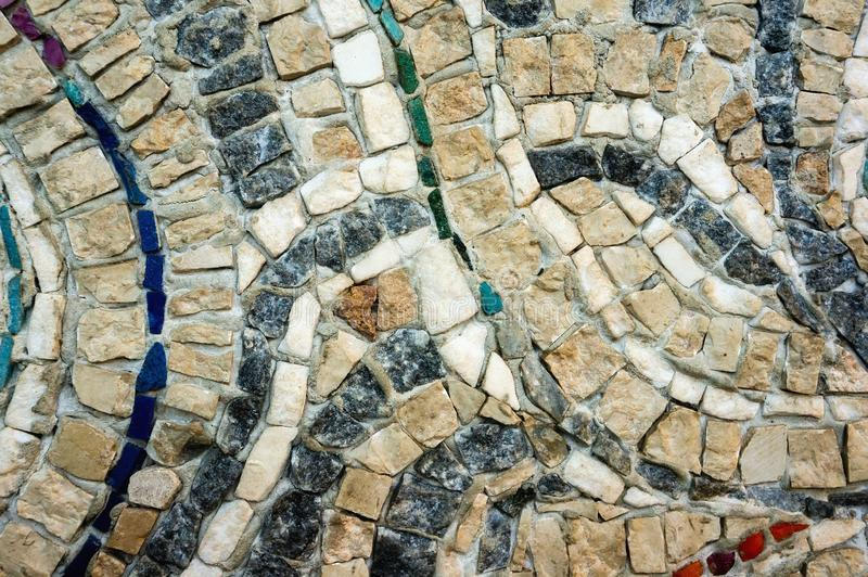 Czerep ściana mali barwioni kamienie Tekstura kamie? Pi?kny naturalny kolorowy t?o zako?czenie obrazy stock