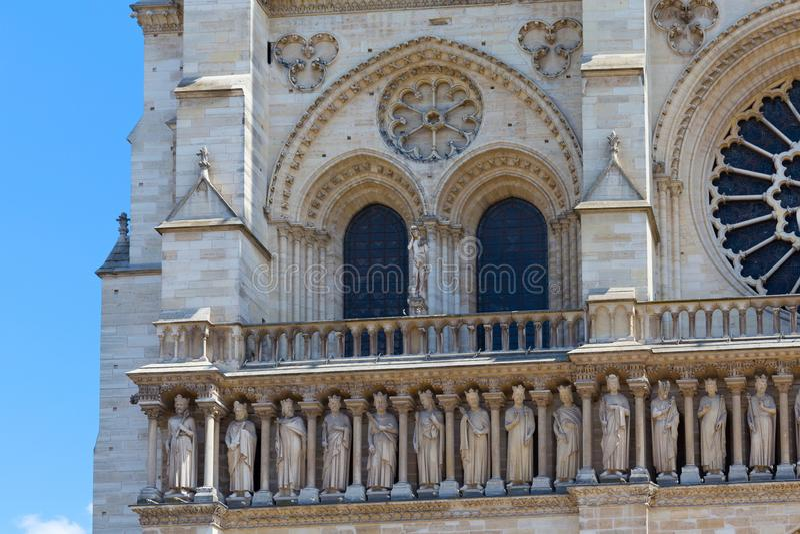 Czerep fasada notre-dame de paris zdjęcie royalty free