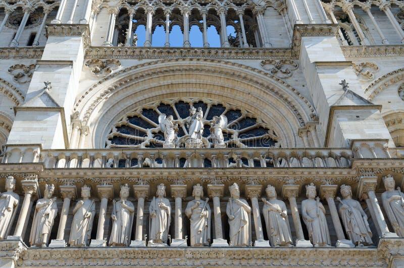 Czerep fasada sławny notre dame de paris, Paryż, Francja zdjęcia royalty free