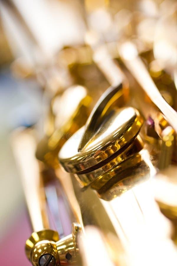 Czerep klap saksofonu zbliżenie fotografia stock