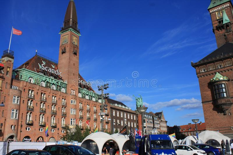 Czerep Kopenhaga urząd miasta, Dani Widok od podwórza fotografia royalty free