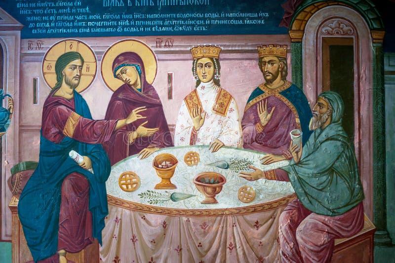 Czerep malowidło ścienne obraz Biblijna scena z jezus chrystus fotografia stock