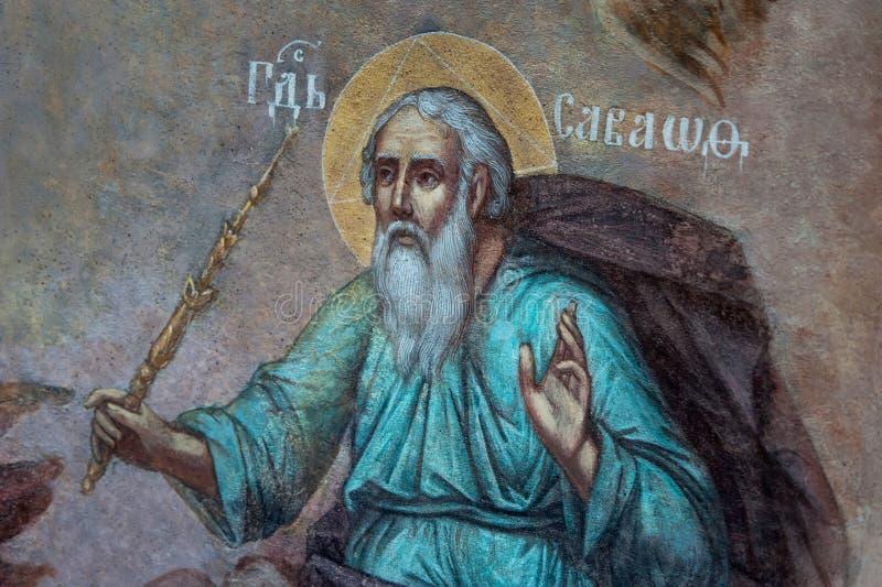 Czerep malowidło ścienne obraz Jahve Sabaoth lub Nadziemski gospodarz zdjęcie stock