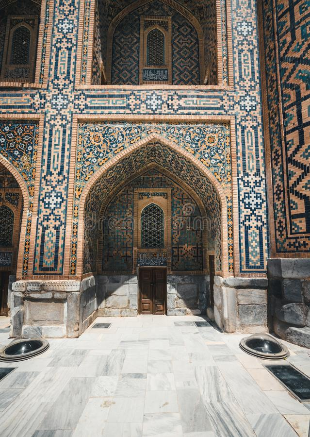 Czerep Registan Madrasah kompleks w Samarkand, Uzbekistan obraz stock