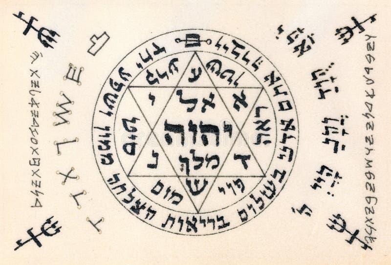 Czerep rocznika Kabbalistic ręcznie pisany Modlitewny tekst pożytecznie a obraz royalty free