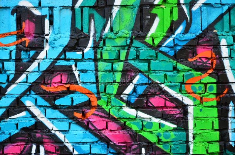 Czerep stara ściana z kolorowym graffiti obrazem zdjęcia stock