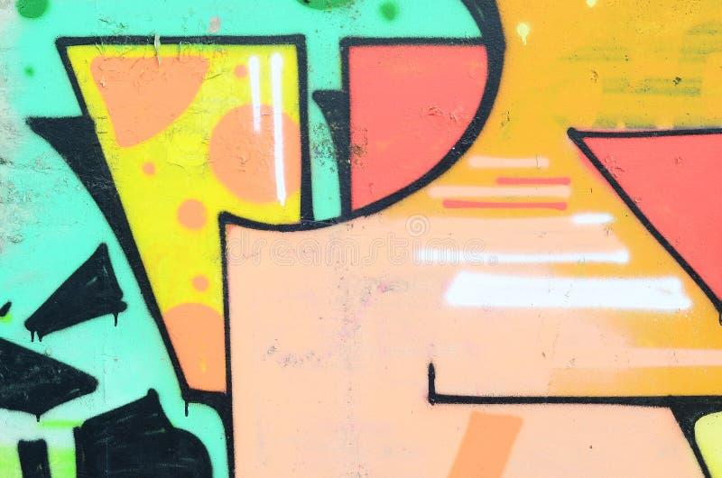 Czerep stara ściana z kolorowym graffiti obrazem ilustracji
