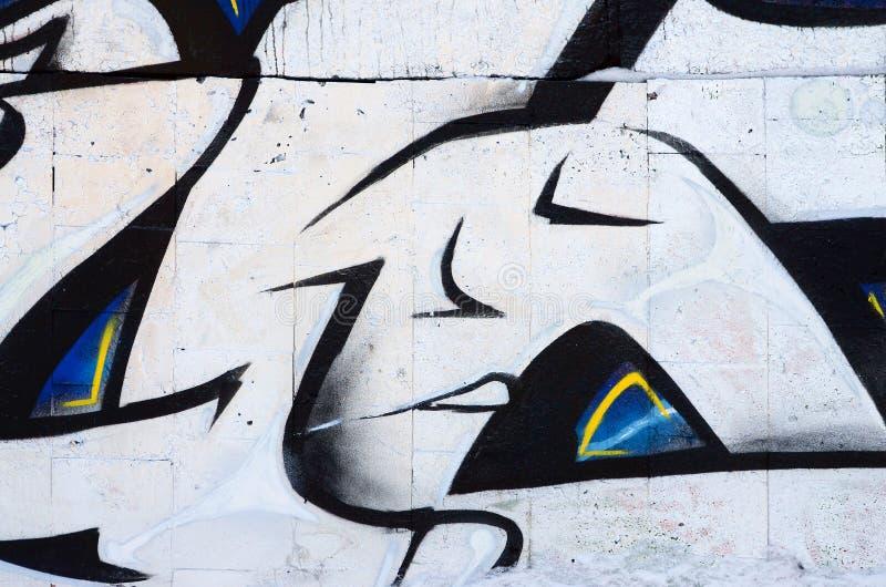 Czerep stara ściana z kolorowym graffiti obrazem fotografia royalty free