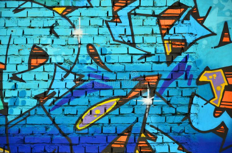 Czerep stara ściana z kolorowym graffiti obrazem zdjęcie royalty free
