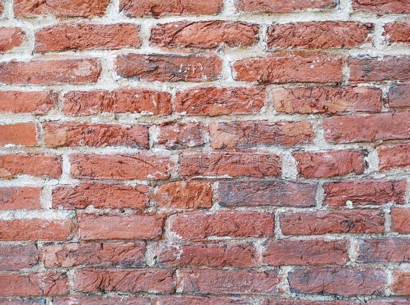 Czerep stara historyczna czerwona ściana z cegieł z białego cementu szwami jako tekstura lub tło fotografia royalty free