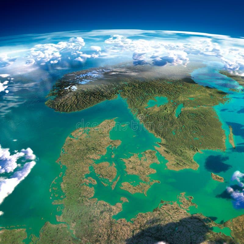 Czerepy planety ziemia. Dani, Szwecja i Norwegia, ilustracji