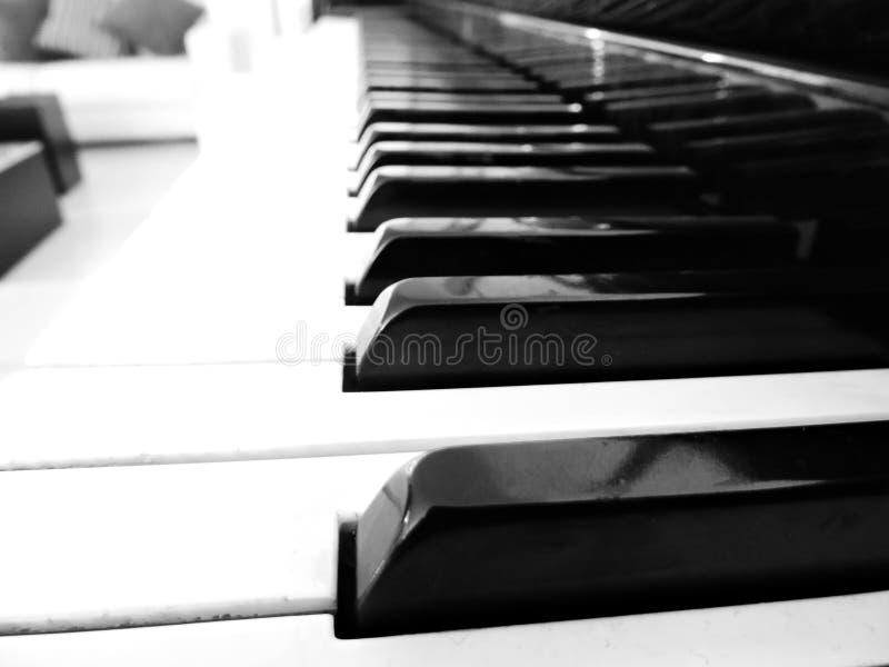 czernić klawiaturowego fortepianowego biel zdjęcie royalty free