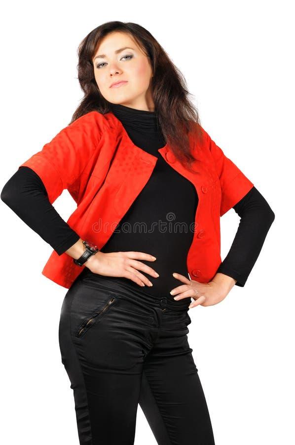 czernić odzieżowej dziewczyny ładnych czerwonych uśmiechniętych potomstwa obraz stock