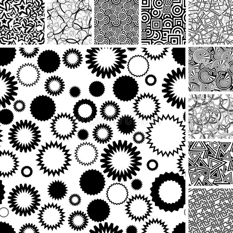 czernić wiele wzorów bezszwowego biel ilustracji