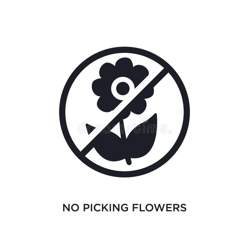 czerni żadny zrywanie kwiat odizolowywającą wektorową ikonę prosta element ilustracja od ruchów drogowych znaków pojęcia wektoru  ilustracji