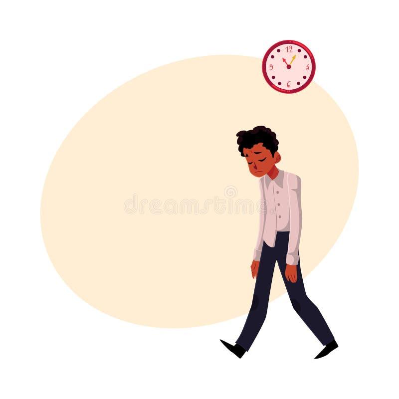 Czerni, amerykanina afrykańskiego pochodzenia biznesmen, kierownik stresujący się, udaremniający, ilustracji