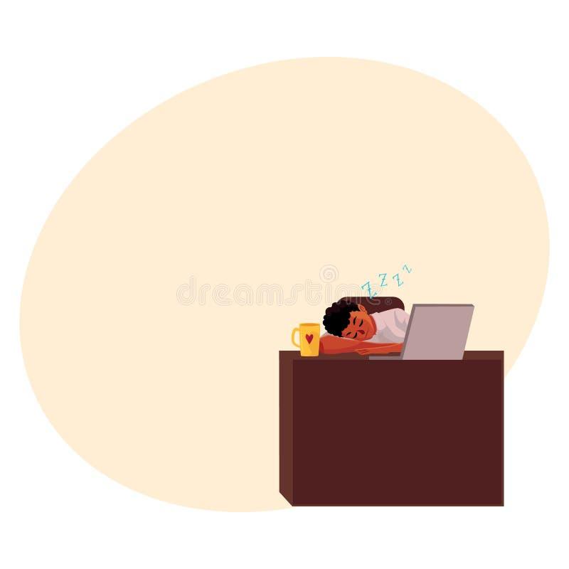 Czerni, amerykanina afrykańskiego pochodzenia biznesmen, kierownika dosypianie w biurze, na miejscu pracy ilustracja wektor