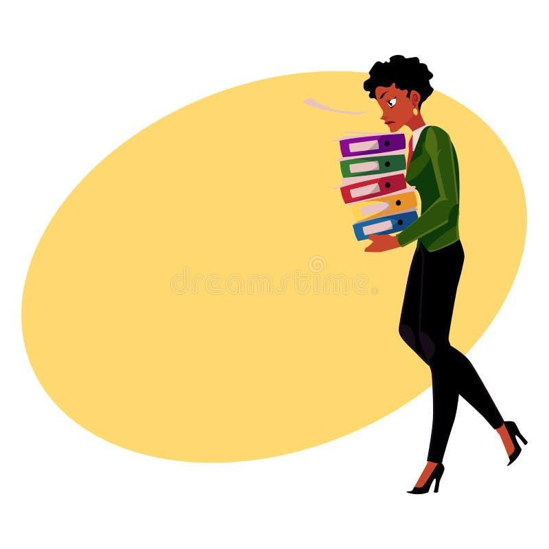 Czerni, amerykanina afrykańskiego pochodzenia bizneswoman, kobieta niesie ciężkiego dokument falcówki stos ilustracji