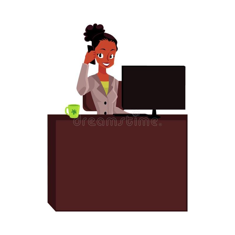 Czerni, amerykanina afrykańskiego pochodzenia bizneswoman, sekretarka, biurowy kierownik opowiada telefonem ilustracji
