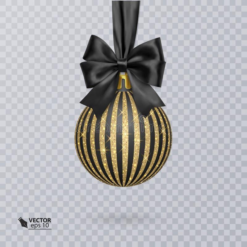 Czerni, Bożenarodzeniowa piłka dekorująca z realistycznym czarnym łękiem i ornament błyszczący, złocisty, również zwrócić corel i ilustracja wektor