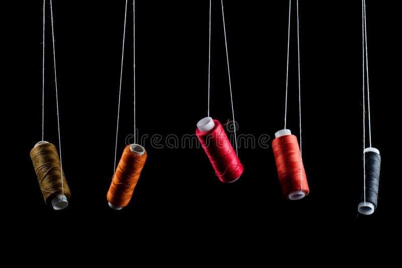 Czerni, brązowieje, różowi nici na babina wznosić się zawieszam na białej nici na czarnym tle i odizolowywa, pomarańcze, czerwień zdjęcia royalty free