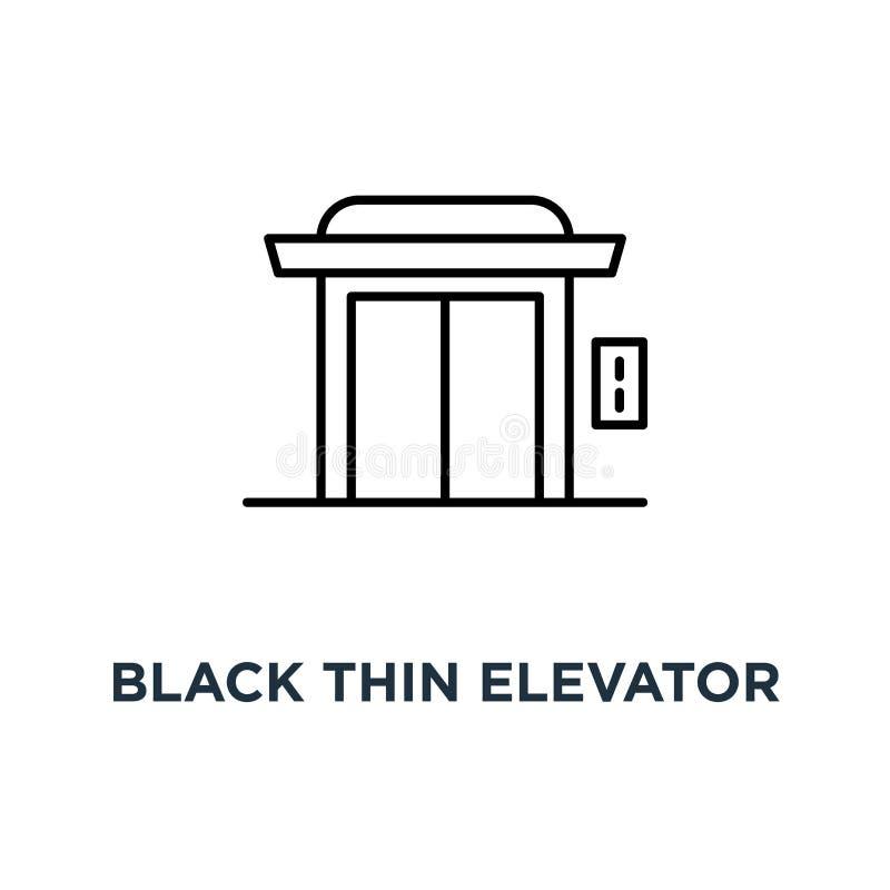 czerni cienka winda dla domowej lub hotelowej ikony, symbolu prostego liniowego trendu logotypu sztuki graficznego projekta domow ilustracji