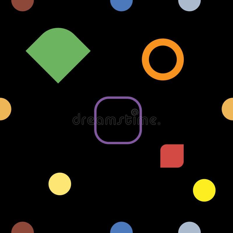 Czerni geometrycznego bezszwowego wzór i barwi, wektor royalty ilustracja