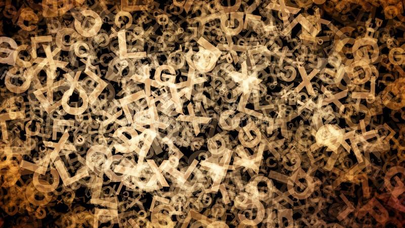 Czerni i Brown abecadła listów tekstury Przypadkowy tło ilustracja wektor