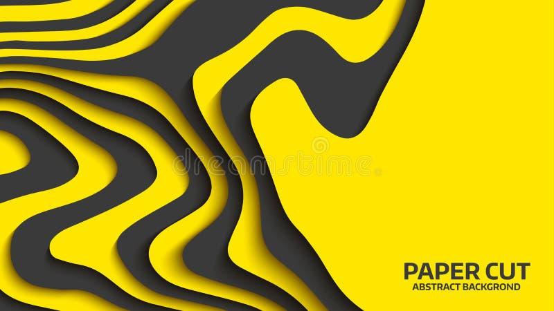 Czerni i koloru żółtego fala abstrakcjonistyczny tła cięcia papieru wektor Abstrakcjonistyczne kolorowe fala sztandary faliści Ko ilustracja wektor