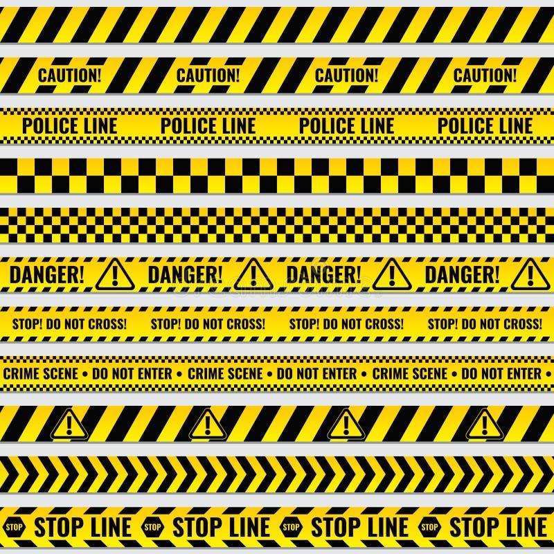 Czerni i koloru żółtego polici lampasa granica, budowa, niebezpieczeństwo ostrożności taśm wektoru bezszwowy set ilustracji