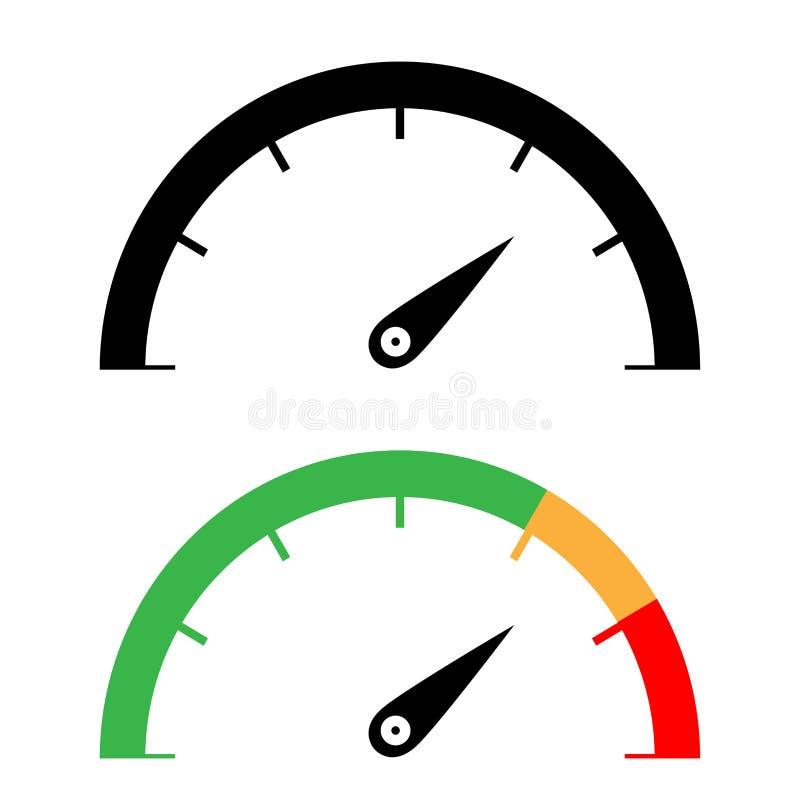 Czerni i koloru szybkościomierza ikona ilustracja wektor