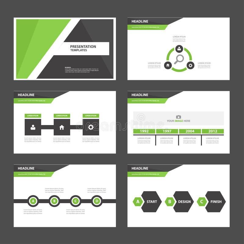 Czerni ikona płaskiego projekta broszurki ustalonego reklamowego marketingowego flye i zielenieje prezentacja szablonu Infographi ilustracji