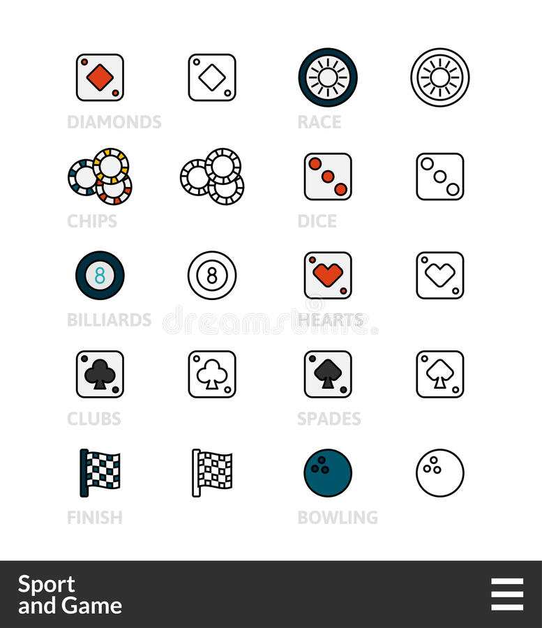 Czerni kontur ikony i barwi, cienki uderzenie kreskowego stylu projekt royalty ilustracja