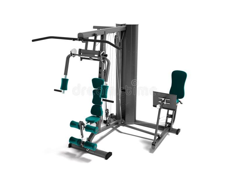 Czerni kopie z zielonego siedzenie mat sportów ciężaru stażowym przyrządem dla szkoleń 3d odpłacają się na białym tle z cieniem ilustracja wektor