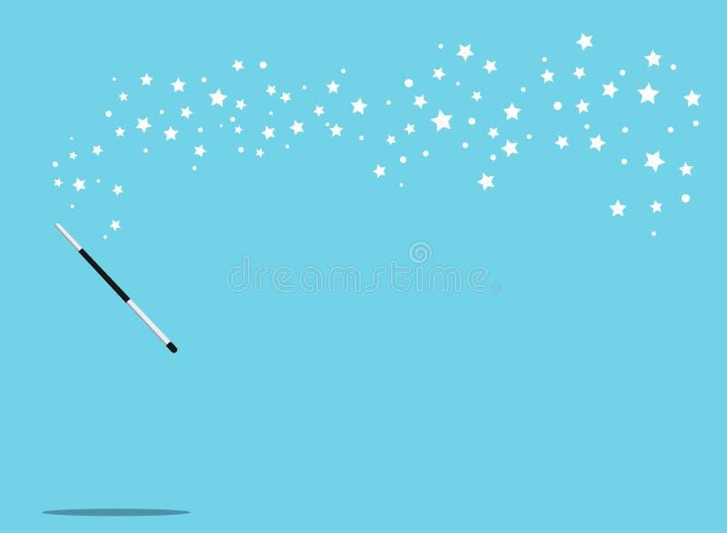 Czerni magicznej różdżki wektorowego tło z białymi gwiazdami i osrebrza ilustracji