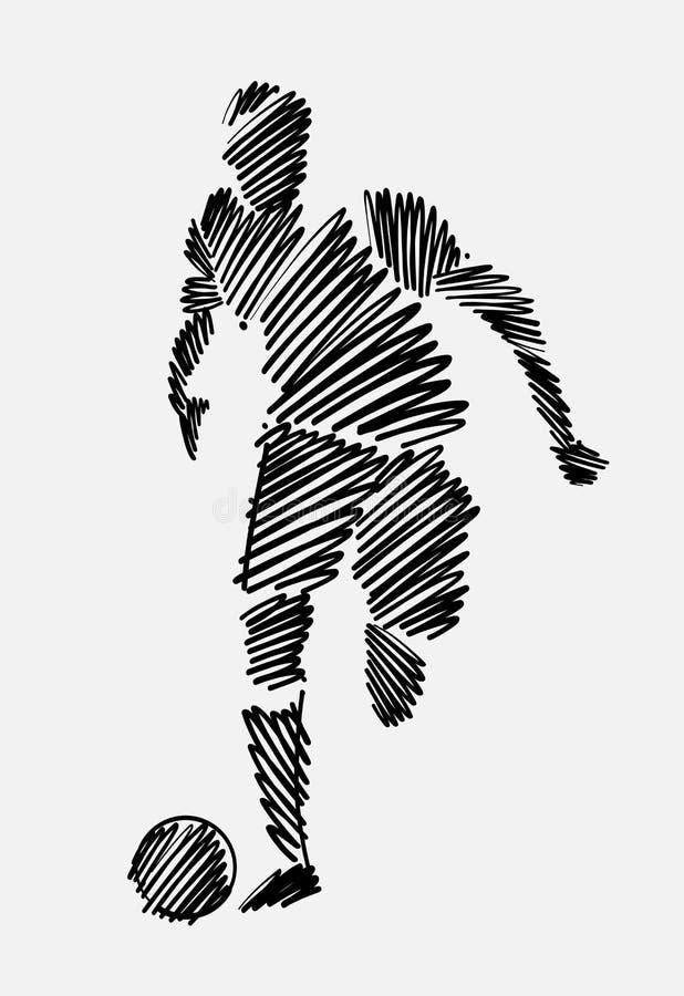 Czerni nabazgranego rysunek mężczyzny gracz futbolu bieg z piłką zdjęcia stock