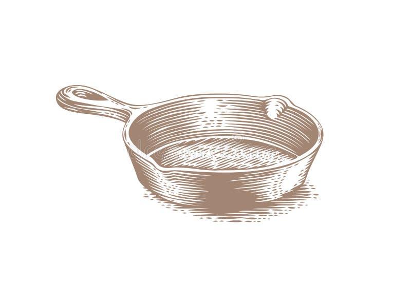Czerni obsady żelaza niecka ilustracja wektor