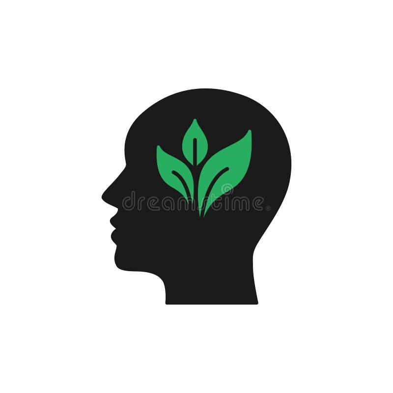 Czerni odosobnioną ikonę głowa mężczyzna i zielenieje liść na białym tle Sylwetka głowa mężczyzna Eco myśl Thunk zieleń mieszkani royalty ilustracja