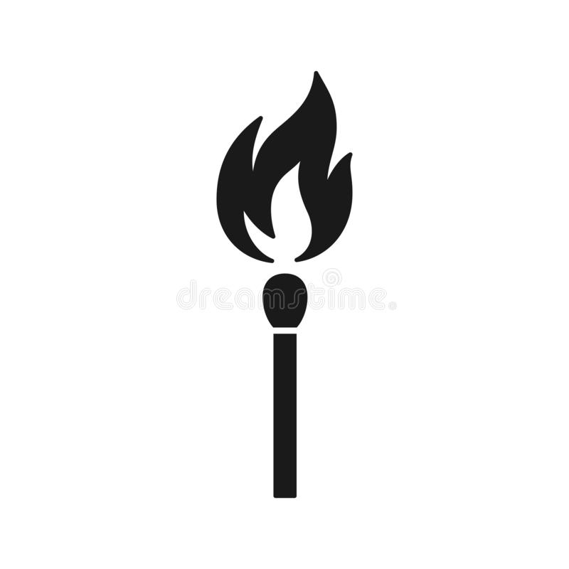 Czerni odosobnioną ikonę matchstick z ogieniem na białym tle Sylwetka zapałczany kij z płomieniem Płaski projekt ilustracja wektor