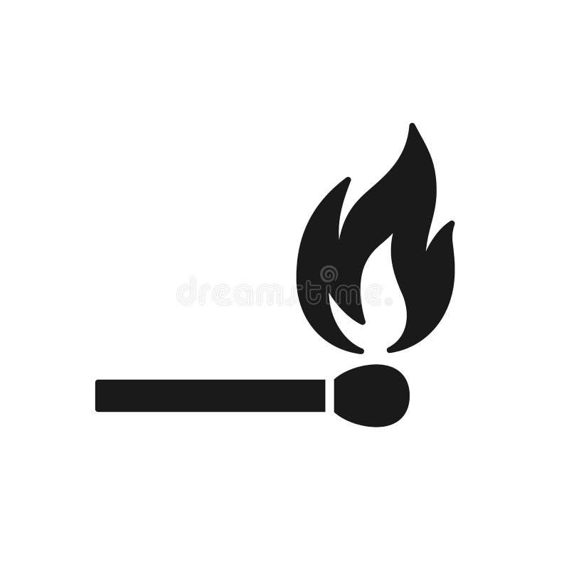 Czerni odosobnioną ikonę matchstick z ogieniem na białym tle Sylwetka zapałczany kij z płomieniem Płaski projekt royalty ilustracja